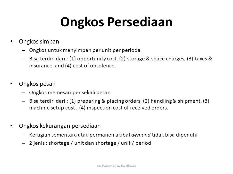Ongkos Persediaan Muhammad Adha Ilhami Ongkos simpan – Ongkos untuk menyimpan per unit per perioda – Bisa terdiri dari : (1) opportunity cost, (2) storage & space charges, (3) taxes & insurance, and (4) cost of obsolence.
