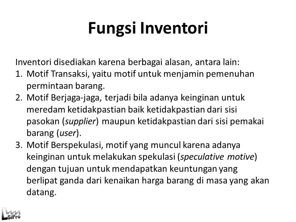 Fungsi Inventori Inventori disediakan karena berbagai alasan, antara lain: 1.Motif Transaksi, yaitu motif untuk menjamin pemenuhan permintaan barang.