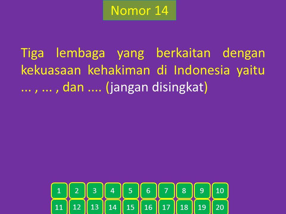 Nomor 14 Tiga lembaga yang berkaitan dengan kekuasaan kehakiman di Indonesia yaitu...,..., dan.... (jangan disingkat) 11 12 13 14 15 16 17 18 19 20 1