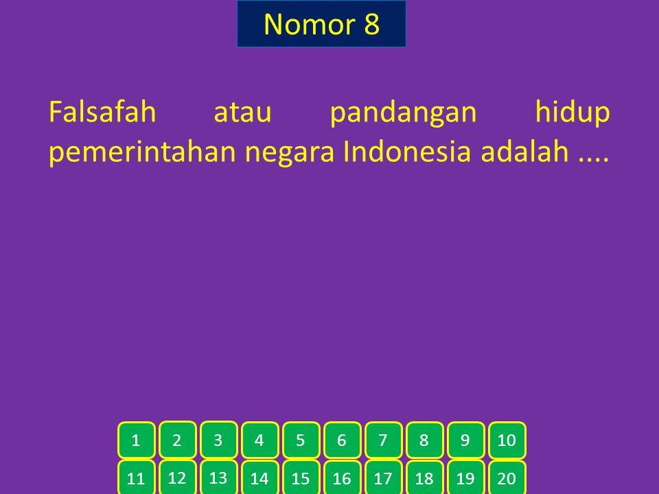 Nomor 8 Falsafah atau pandangan hidup pemerintahan negara Indonesia adalah.... 11 12 13 14 15 16 17 18 19 20 1 2 3 4 5 6 7 8 9 10