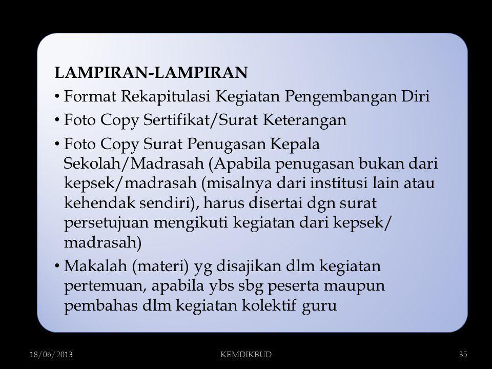 LAMPIRAN-LAMPIRAN Format Rekapitulasi Kegiatan Pengembangan Diri Foto Copy Sertifikat/Surat Keterangan Foto Copy Surat Penugasan Kepala Sekolah/Madras