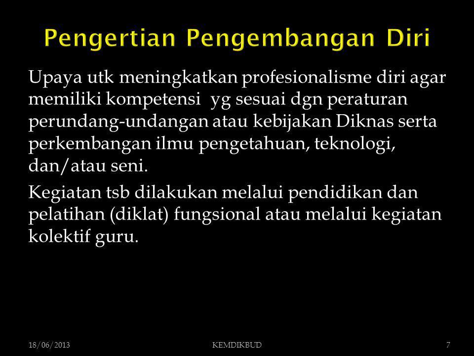  Pendidikan dan Latihan (Diklat) Fungsional  Kegiatan Kolektif Guru 18/06/20138KEMDIKBUD