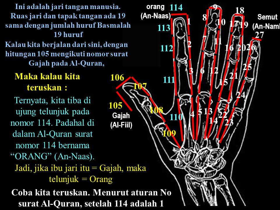 Ini adalah jari tangan manusia. Ruas jari dan tapak tangan ada 19 sama dengan jumlah huruf Basmalah 19 huruf Kalau kita berjalan dari sini, dengan hit