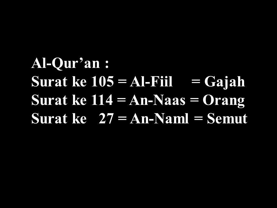 Al-Qur'an : Surat ke 105 = Al-Fiil = Gajah Surat ke 114 = An-Naas = Orang Surat ke 27 = An-Naml = Semut