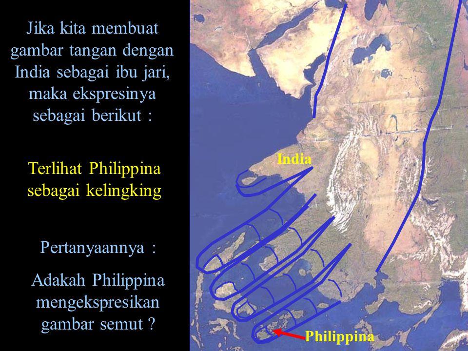 Jika kita membuat gambar tangan dengan India sebagai ibu jari, maka ekspresinya sebagai berikut : India Philippina Terlihat Philippina sebagai kelingk