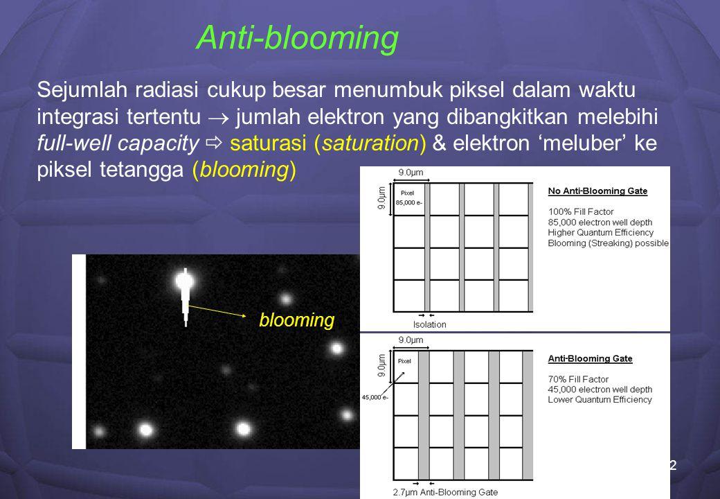 12 Anti-blooming Sejumlah radiasi cukup besar menumbuk piksel dalam waktu integrasi tertentu  jumlah elektron yang dibangkitkan melebihi full-well capacity  saturasi (saturation) & elektron 'meluber' ke piksel tetangga (blooming) blooming