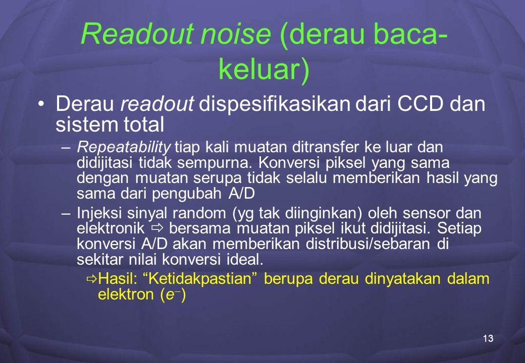 13 Readout noise (derau baca- keluar) Derau readout dispesifikasikan dari CCD dan sistem total –Repeatability tiap kali muatan ditransfer ke luar dan