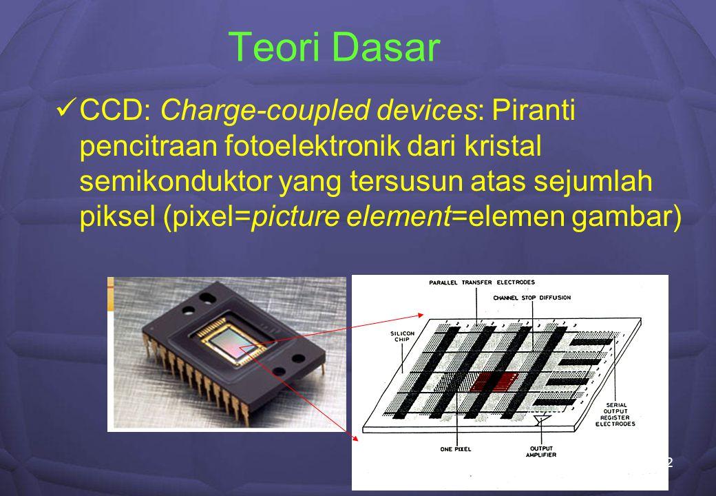 3 Mekanisme pencitraan oleh CCD Pembangkitan (Konversi foton ke elektron) dan penyimpanan muatan Efisiensi kuantum Pemindahan muatan dalam tiap piksel ke struktur keluaran Clock drivers Pendeteksian dan pembacaan muatan Konversi muatan/piksel ke tegangan/piksel dan proses Konversi tegangan/piksel ke Digital Number (DN)/piksel Pengubah analog-digital (ADC) Konversi DN/piksel ke citra yang dapat dilihat, penyimpanan ke berkas Frame grabber, media