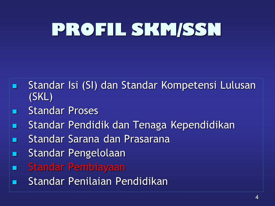 4 PROFIL SKM/SSN Standar Isi (SI) dan Standar Kompetensi Lulusan (SKL) Standar Isi (SI) dan Standar Kompetensi Lulusan (SKL) Standar Proses Standar Pr