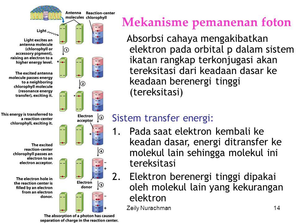 KI3061Zeily Nurachman14 Mekanisme pemanenan foton Absorbsi cahaya mengakibatkan elektron pada orbital p dalam sistem ikatan rangkap terkonjugasi akan tereksitasi dari keadaan dasar ke keadaan berenergi tinggi (tereksitasi) Sistem transfer energi: 1.Pada saat elektron kembali ke keadan dasar, energi ditransfer ke molekul lain sehingga molekul ini tereksitasi 2.Elektron berenergi tinggi dipakai oleh molekul lain yang kekurangan elektron