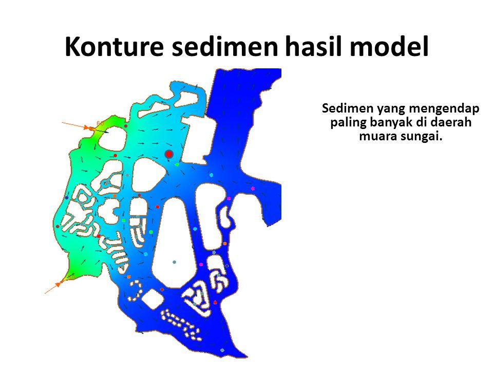 Konture sedimen hasil model Sedimen yang mengendap paling banyak di daerah muara sungai.