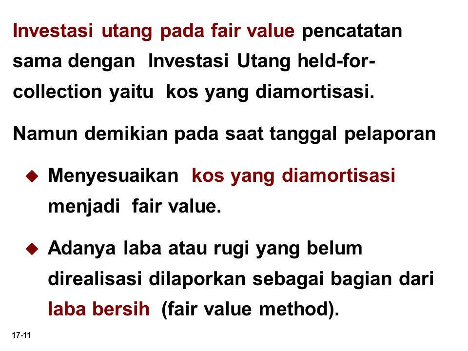 17-11 Investasi utang pada fair value pencatatan sama dengan Investasi Utang held-for- collection yaitu kos yang diamortisasi. Namun demikian pada saa