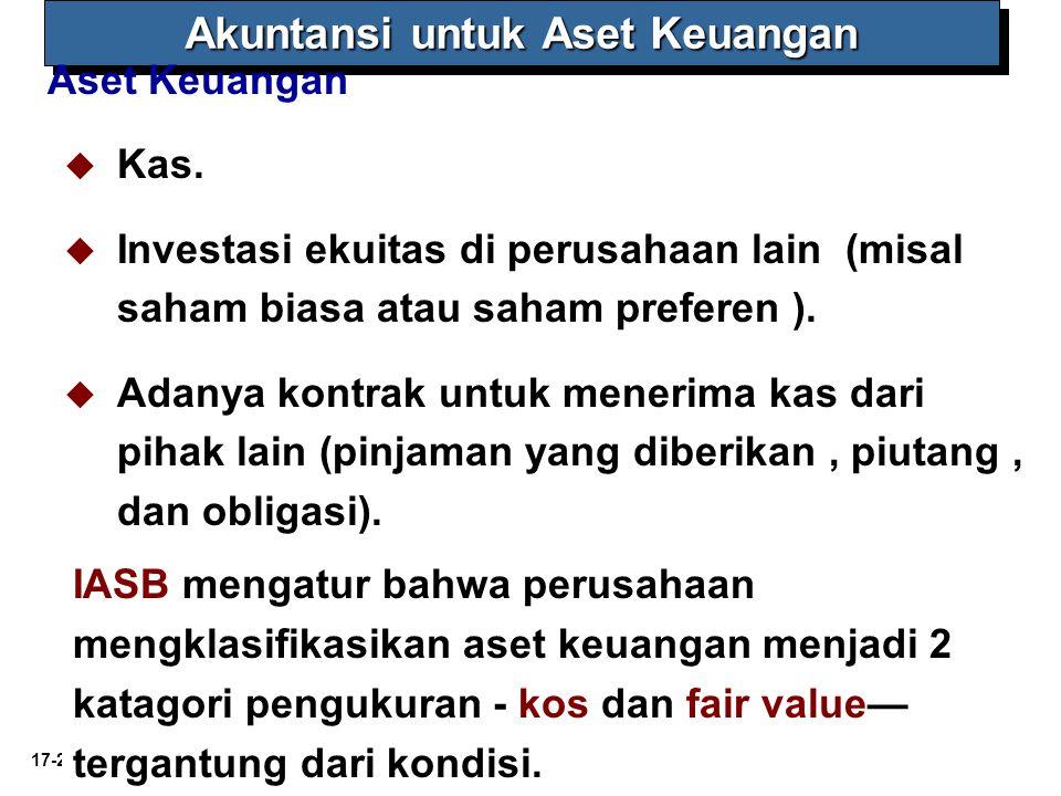 17-2 Akuntansi untuk Aset Keuangan Aset Keuangan   Kas.   Investasi ekuitas di perusahaan lain (misal saham biasa atau saham preferen ).   Adany