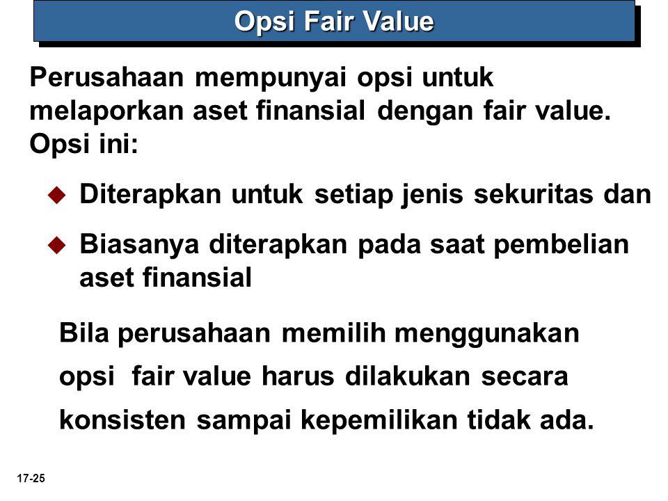 17-25 Perusahaan mempunyai opsi untuk melaporkan aset finansial dengan fair value. Opsi ini:   Diterapkan untuk setiap jenis sekuritas dan   Biasa