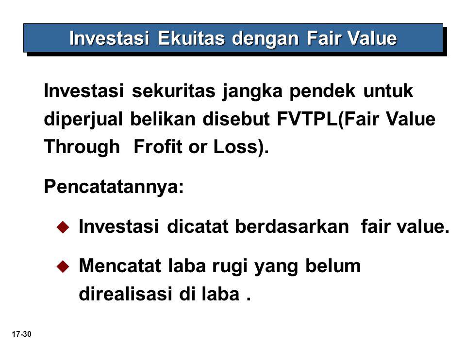 17-30 Investasi Ekuitas dengan Fair Value Investasi sekuritas jangka pendek untuk diperjual belikan disebut FVTPL(Fair Value Through Frofit or Loss).