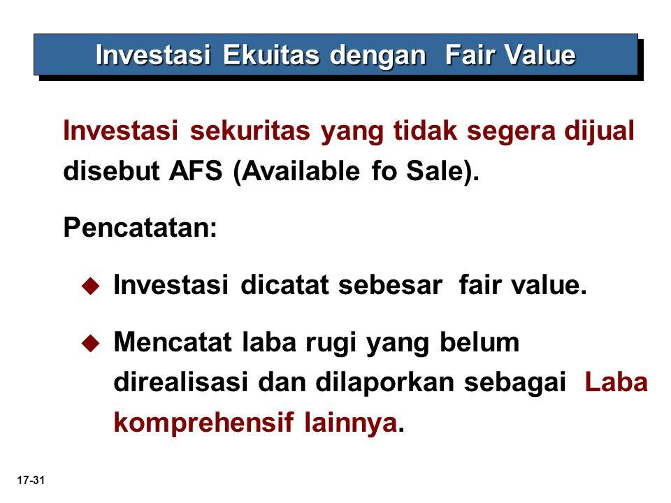 17-31 Investasi Ekuitas dengan Fair Value Investasi sekuritas yang tidak segera dijual disebut AFS (Available fo Sale). Pencatatan:   Investasi dica
