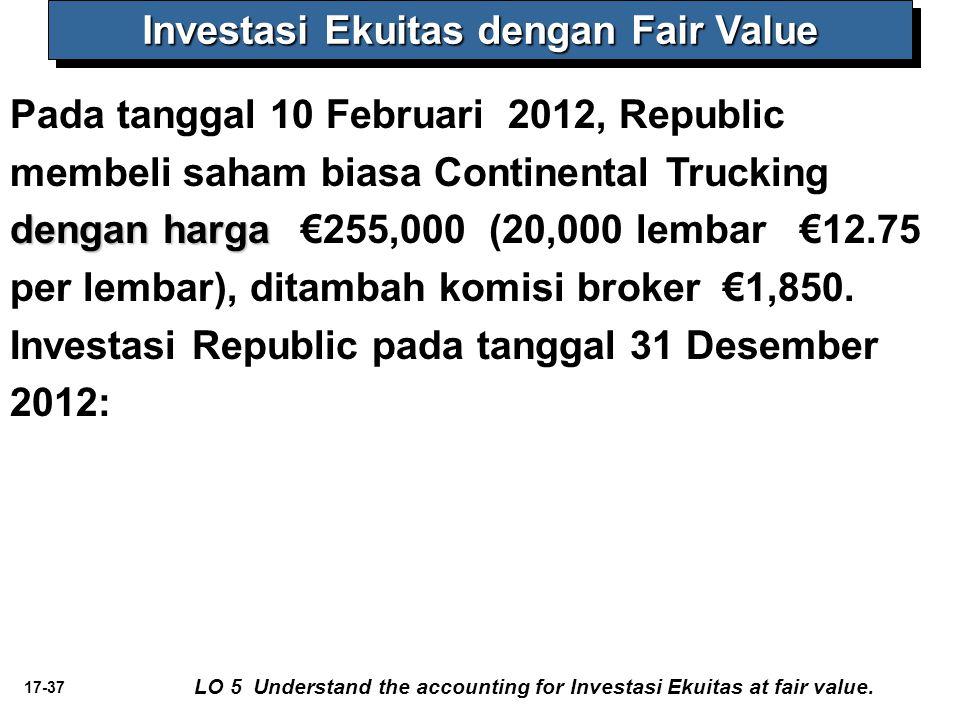 17-37 dengan harga Pada tanggal 10 Februari 2012, Republic membeli saham biasa Continental Trucking dengan harga €255,000 (20,000 lembar €12.75 per lembar), ditambah komisi broker €1,850.