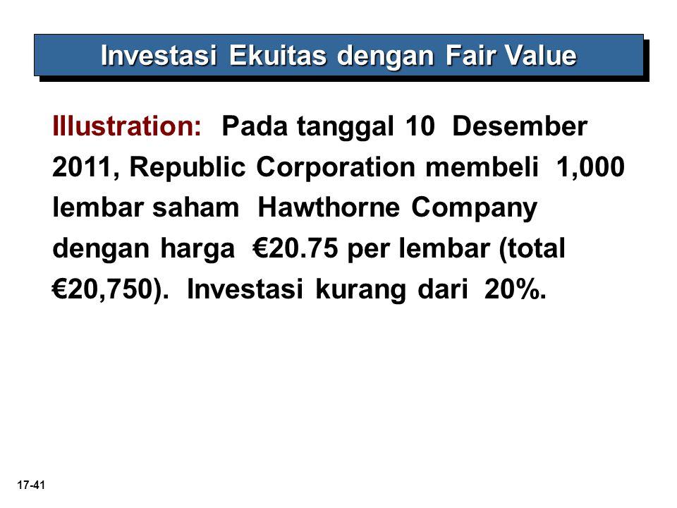 17-41 Investasi Ekuitas dengan Fair Value Illustration: Pada tanggal 10 Desember 2011, Republic Corporation membeli 1,000 lembar saham Hawthorne Company dengan harga €20.75 per lembar (total €20,750).