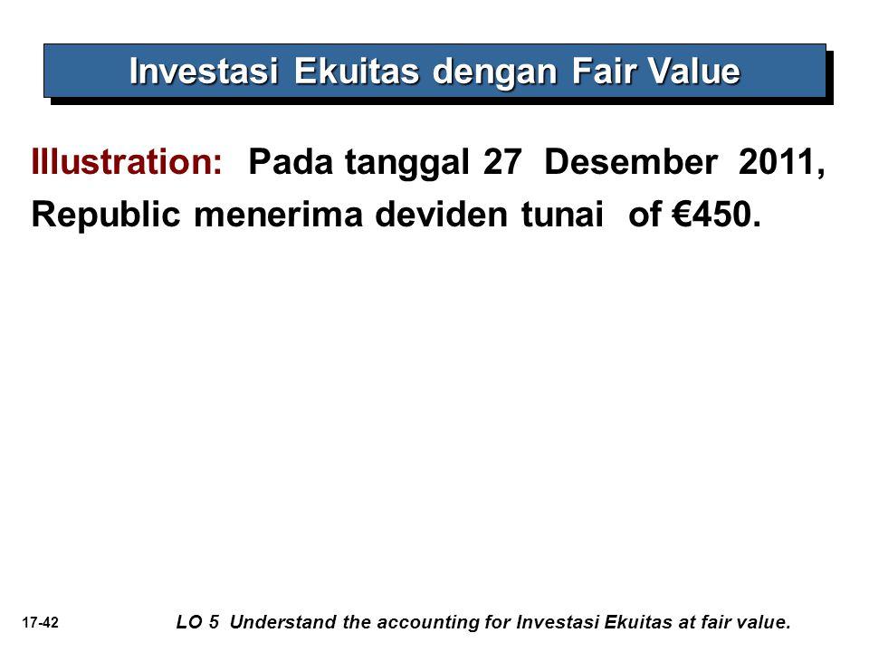 17-42 Investasi Ekuitas dengan Fair Value Illustration: Pada tanggal 27 Desember 2011, Republic menerima deviden tunai of €450. LO 5 Understand the ac