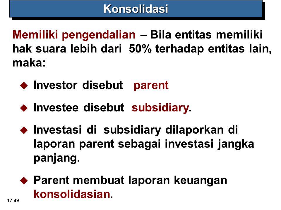 17-49KonsolidasiKonsolidasi Memiliki pengendalian – Bila entitas memiliki hak suara lebih dari 50% terhadap entitas lain, maka:   Investor disebut parent   Investee disebut subsidiary.