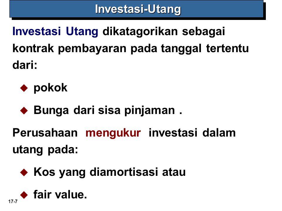 17-7 Investasi-Utang Investasi-Utang Investasi Utang dikatagorikan sebagai kontrak pembayaran pada tanggal tertentu dari:   pokok   Bunga dari sis