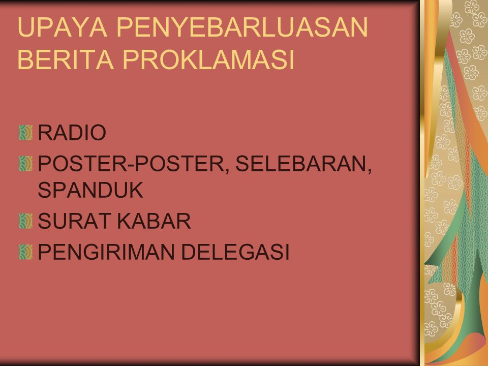 Pembagian wilayah, terdiri atas 8 provinsi.a.Jawa Barat, gubernurnya Sutarjo Kartohadikusumo b.