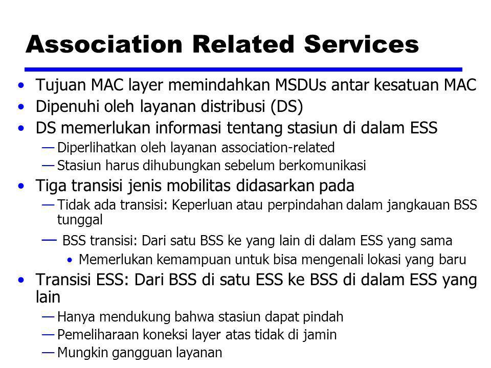 Association Related Services Tujuan MAC layer memindahkan MSDUs antar kesatuan MAC Dipenuhi oleh layanan distribusi (DS) DS memerlukan informasi tenta