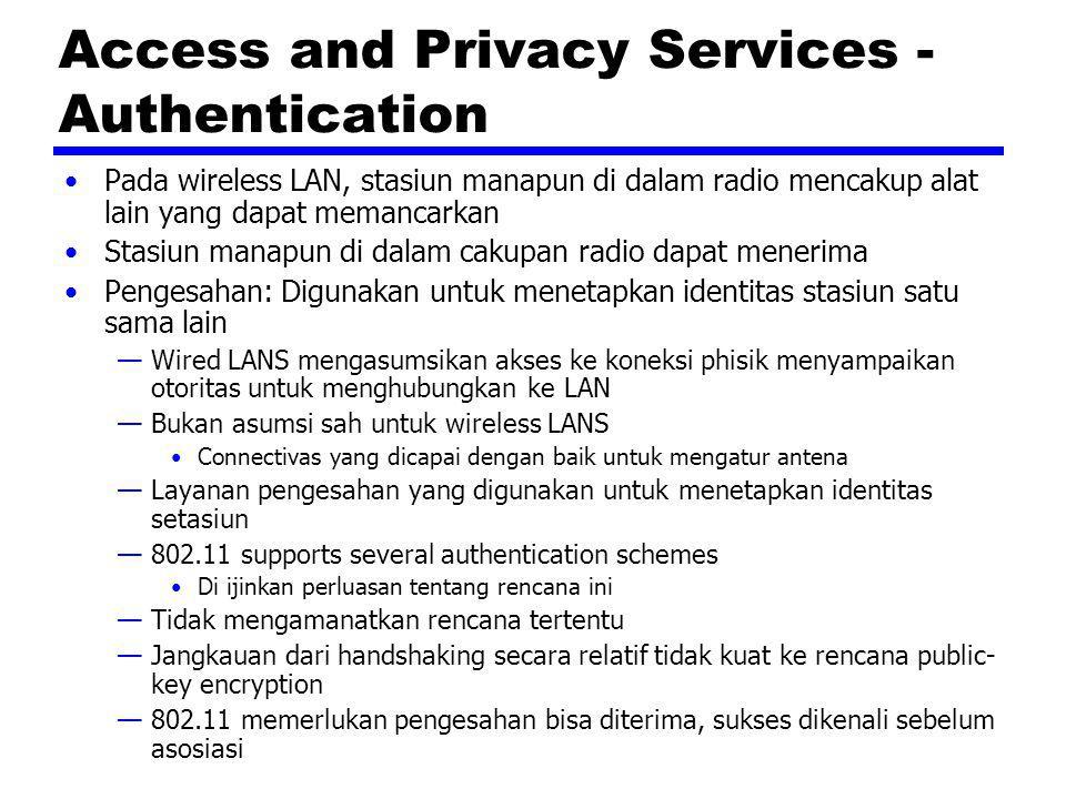 Access and Privacy Services - Authentication Pada wireless LAN, stasiun manapun di dalam radio mencakup alat lain yang dapat memancarkan Stasiun manap