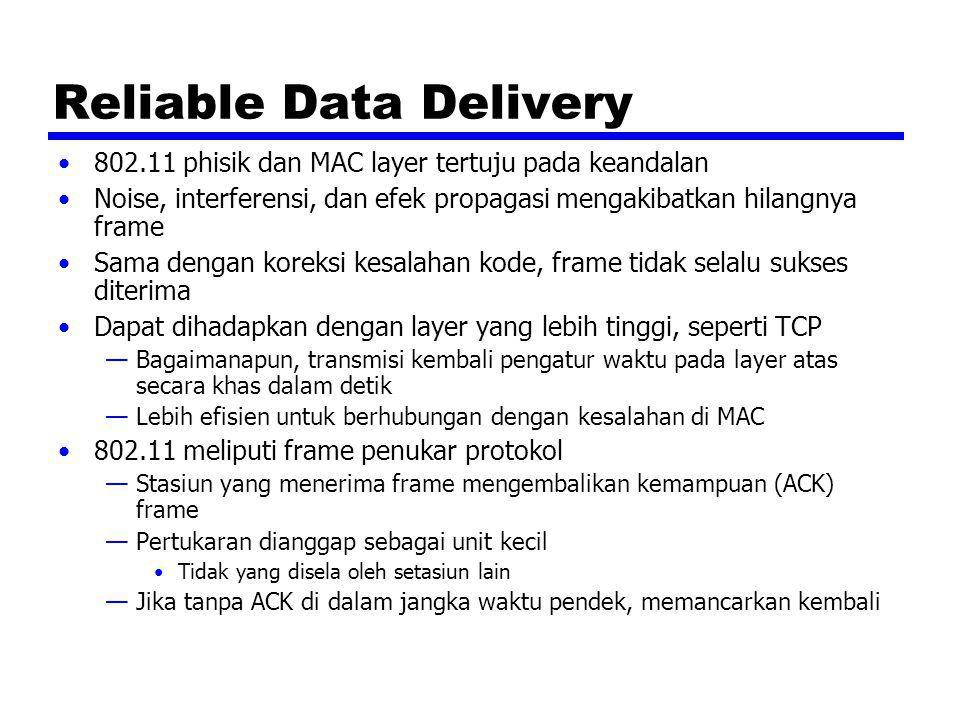 Reliable Data Delivery 802.11 phisik dan MAC layer tertuju pada keandalan Noise, interferensi, dan efek propagasi mengakibatkan hilangnya frame Sama d