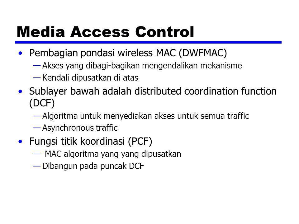 Media Access Control Pembagian pondasi wireless MAC (DWFMAC) —Akses yang dibagi-bagikan mengendalikan mekanisme —Kendali dipusatkan di atas Sublayer b