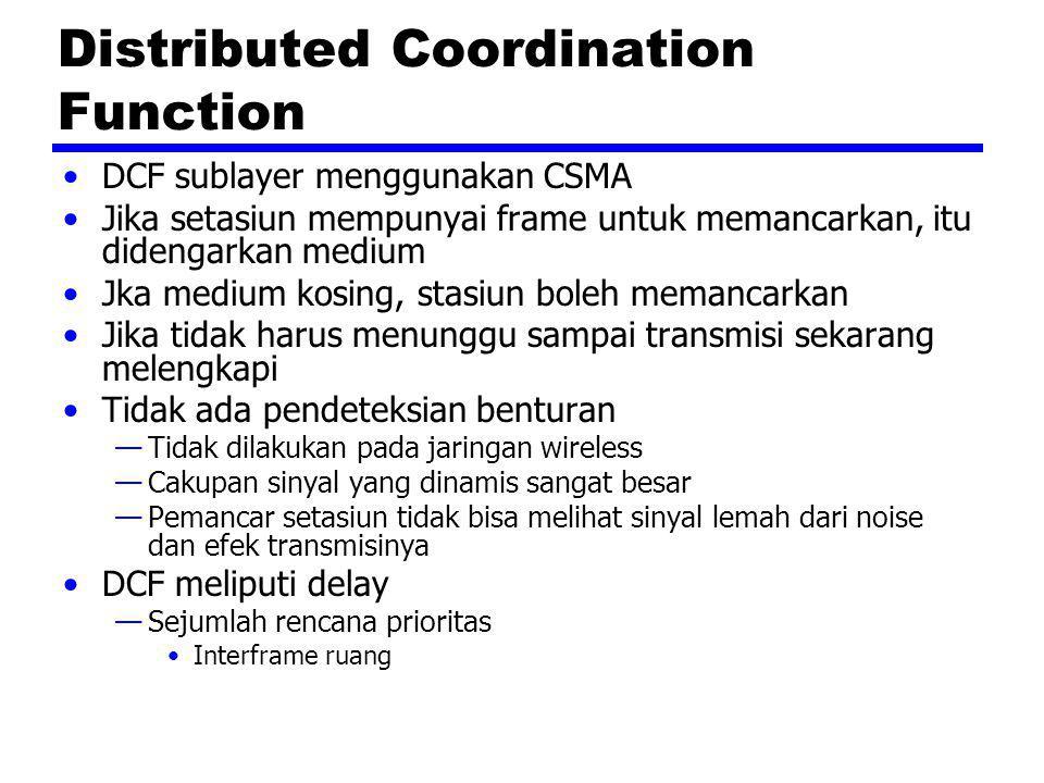 Distributed Coordination Function DCF sublayer menggunakan CSMA Jika setasiun mempunyai frame untuk memancarkan, itu didengarkan medium Jka medium kos