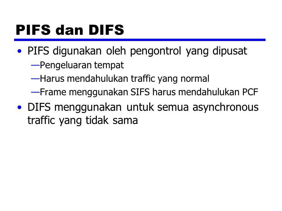 PIFS dan DIFS PIFS digunakan oleh pengontrol yang dipusat —Pengeluaran tempat —Harus mendahulukan traffic yang normal —Frame menggunakan SIFS harus me