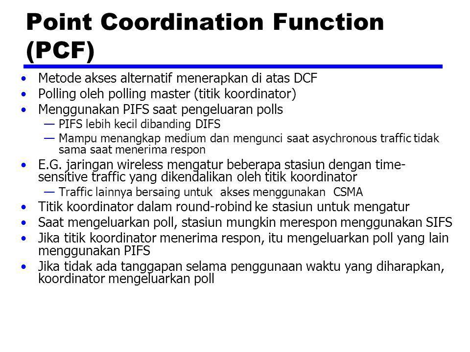 Point Coordination Function (PCF) Metode akses alternatif menerapkan di atas DCF Polling oleh polling master (titik koordinator) Menggunakan PIFS saat