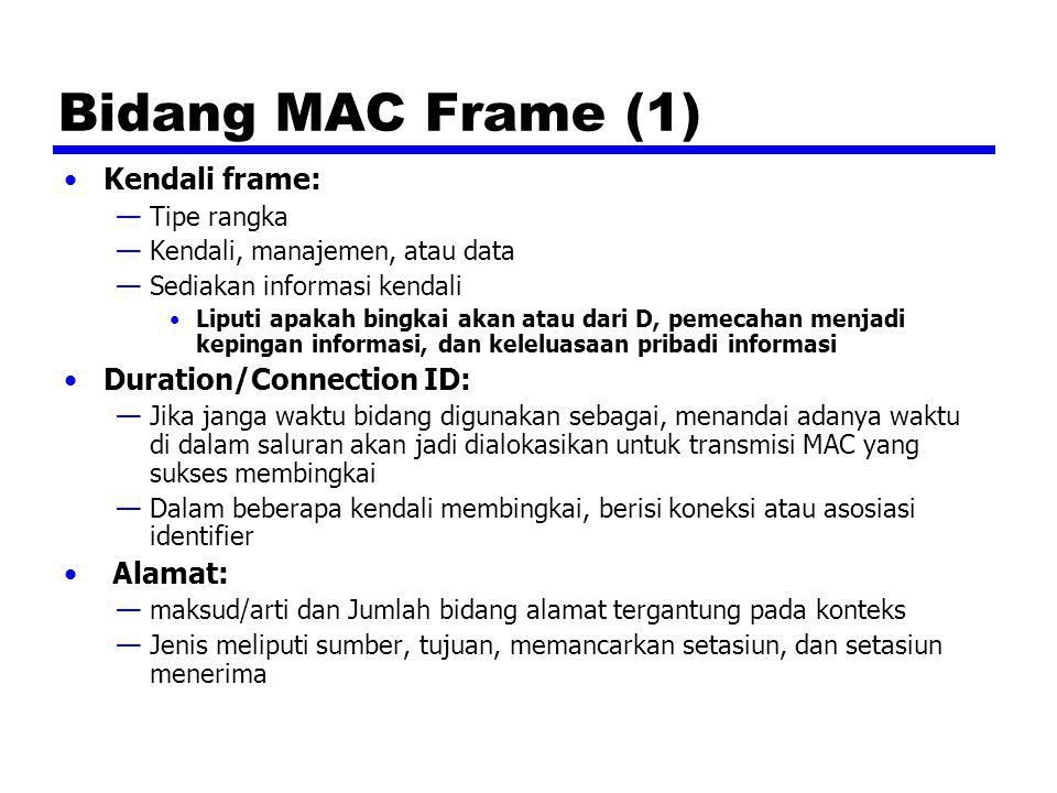 Bidang MAC Frame (1) Kendali frame: —Tipe rangka —Kendali, manajemen, atau data —Sediakan informasi kendali Liputi apakah bingkai akan atau dari D, pe