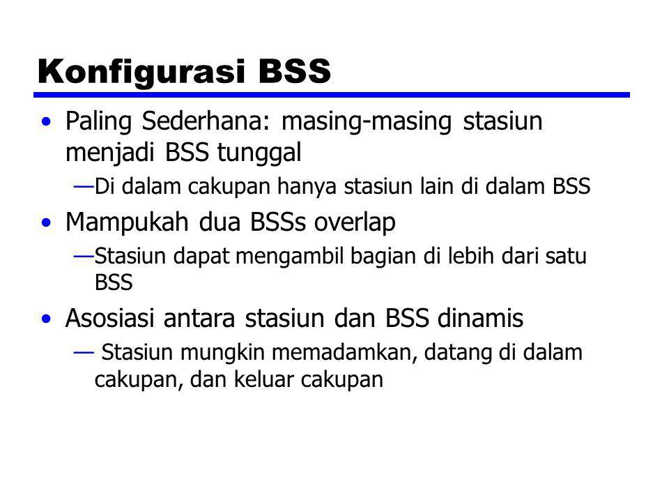 Extended Service Set (ESS) Dua atau lebih BSS di hubungkan oleh DS —Biasanya, DS adalah wired backbone tetapi dapat di jaringan manapun Terlihat sebagai LAN tunggal ke LLC