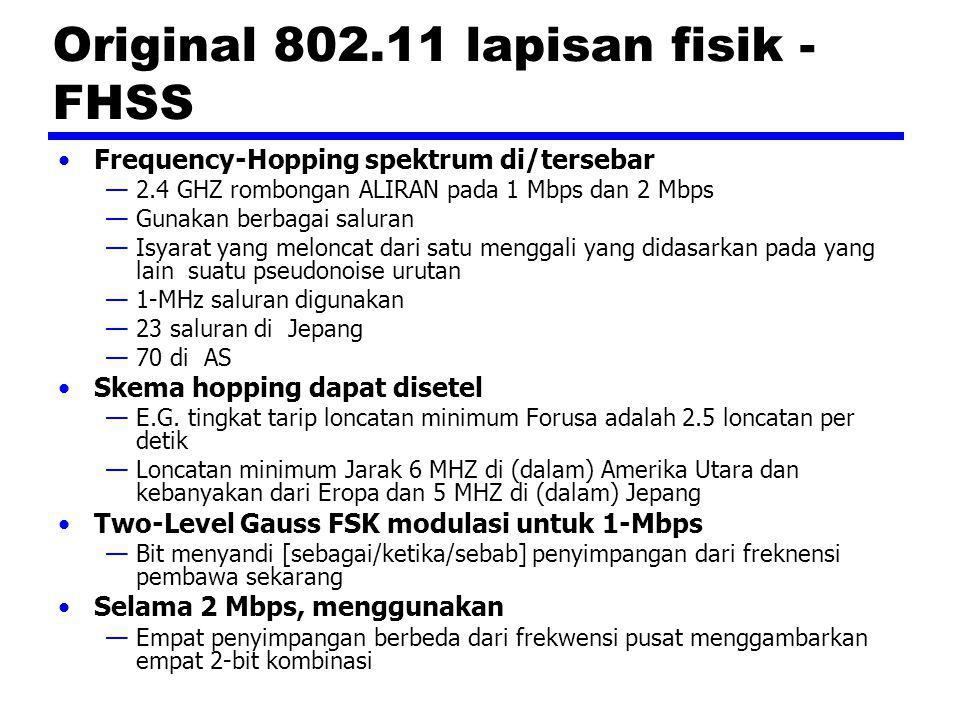 Original 802.11 lapisan fisik - FHSS Frequency-Hopping spektrum di/tersebar —2.4 GHZ rombongan ALIRAN pada 1 Mbps dan 2 Mbps —Gunakan berbagai saluran