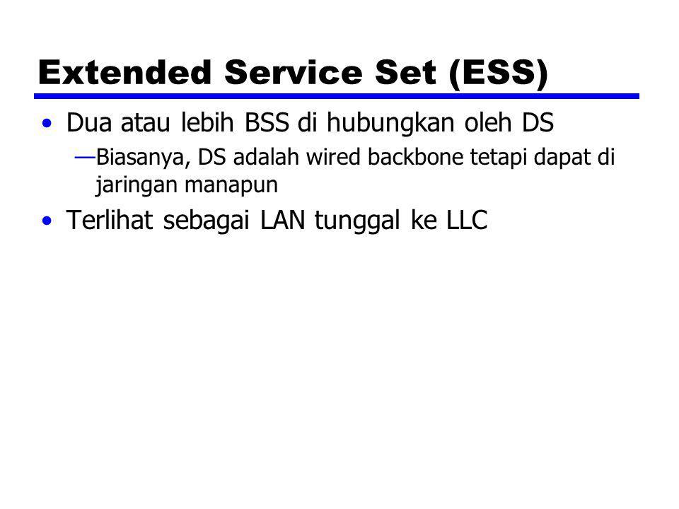 Extended Service Set (ESS) Dua atau lebih BSS di hubungkan oleh DS —Biasanya, DS adalah wired backbone tetapi dapat di jaringan manapun Terlihat sebag