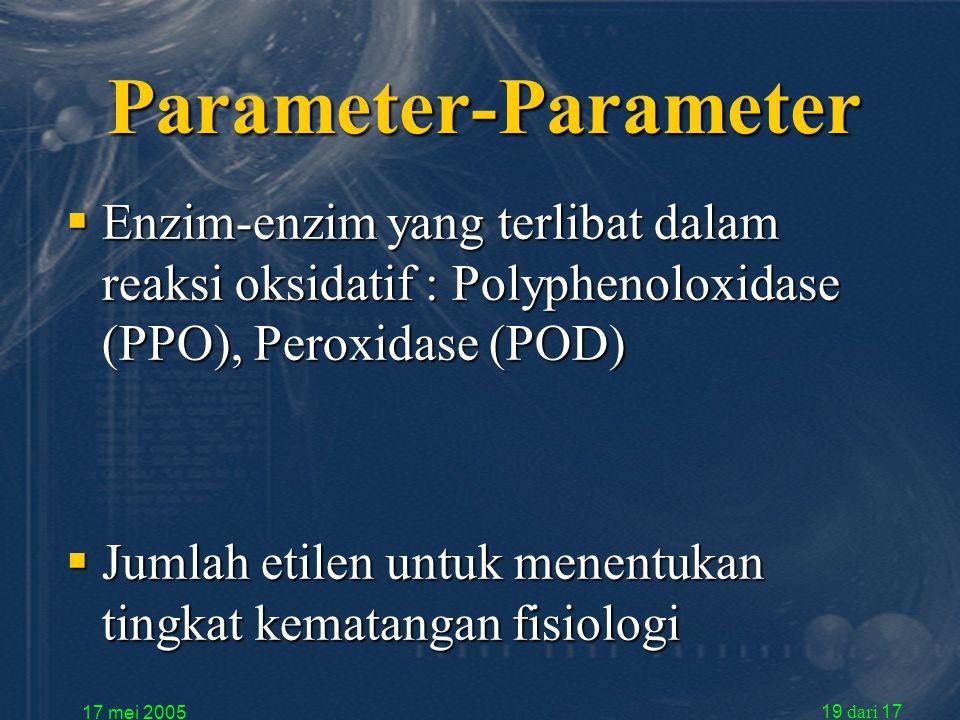 17 mei 2005 19 dari 17 Parameter-Parameter  Enzim-enzim yang terlibat dalam reaksi oksidatif : Polyphenoloxidase (PPO), Peroxidase (POD)  Jumlah etilen untuk menentukan tingkat kematangan fisiologi
