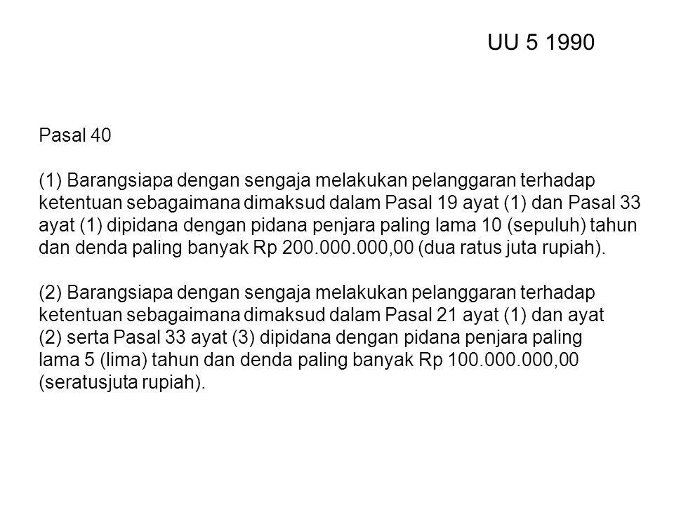 Pasal 40 (1) Barangsiapa dengan sengaja melakukan pelanggaran terhadap ketentuan sebagaimana dimaksud dalam Pasal 19 ayat (1) dan Pasal 33 ayat (1) dipidana dengan pidana penjara paling lama 10 (sepuluh) tahun dan denda paling banyak Rp 200.000.000,00 (dua ratus juta rupiah).