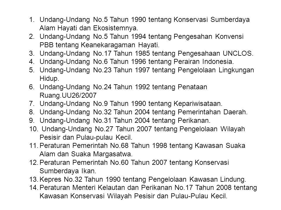 1.Undang-Undang No.5 Tahun 1990 tentang Konservasi Sumberdaya Alam Hayati dan Ekosistemnya. 2.Undang-Undang No.5 Tahun 1994 tentang Pengesahan Konvens