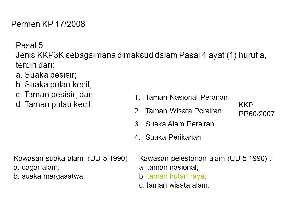 Pasal 5 Jenis KKP3K sebagaimana dimaksud dalam Pasal 4 ayat (1) huruf a, terdiri dari: a. Suaka pesisir; b. Suaka pulau kecil; c. Taman pesisir; dan d