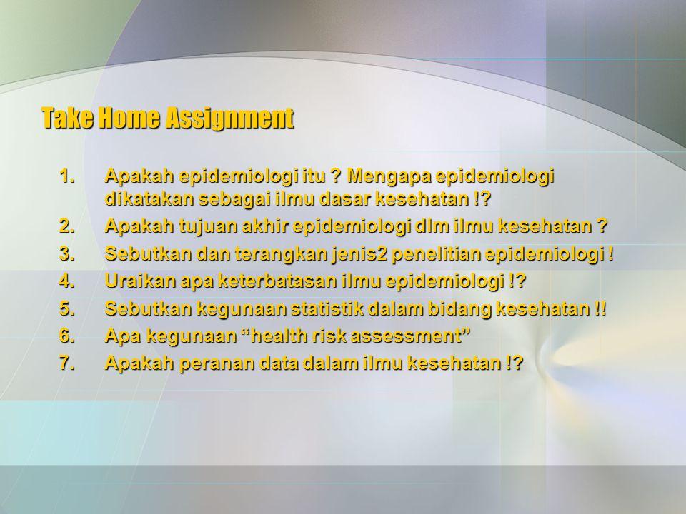Take Home Assignment 1.Apakah epidemiologi itu .