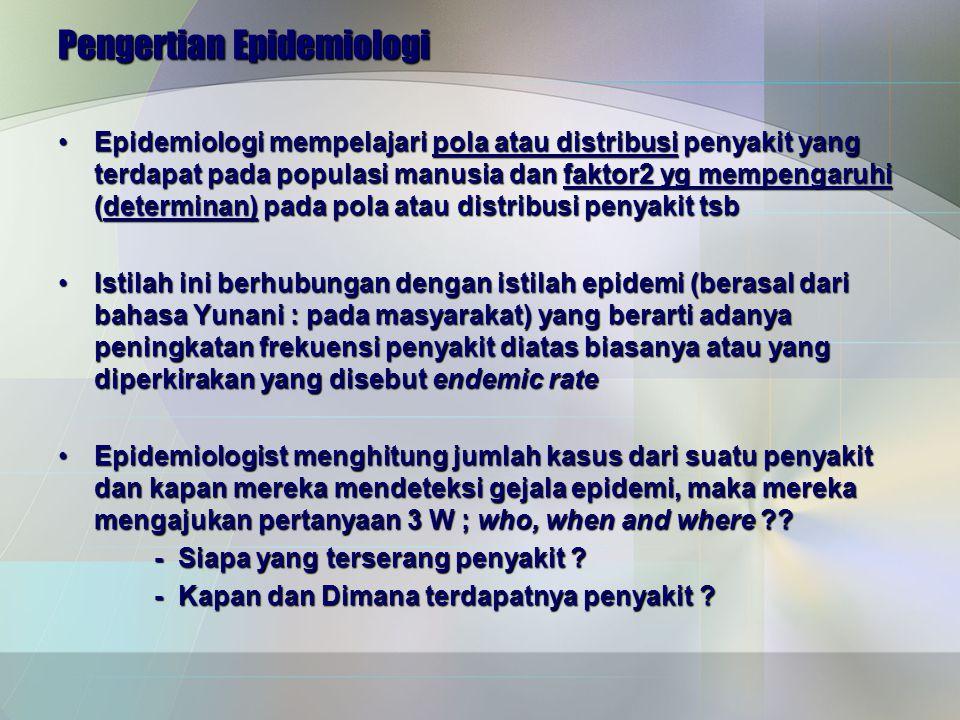 Pengertian Epidemiologi Epidemiologi mempelajari pola atau distribusi penyakit yang terdapat pada populasi manusia dan faktor2 yg mempengaruhi (determinan) pada pola atau distribusi penyakit tsbEpidemiologi mempelajari pola atau distribusi penyakit yang terdapat pada populasi manusia dan faktor2 yg mempengaruhi (determinan) pada pola atau distribusi penyakit tsb Istilah ini berhubungan dengan istilah epidemi (berasal dari bahasa Yunani : pada masyarakat) yang berarti adanya peningkatan frekuensi penyakit diatas biasanya atau yang diperkirakan yang disebut endemic rateIstilah ini berhubungan dengan istilah epidemi (berasal dari bahasa Yunani : pada masyarakat) yang berarti adanya peningkatan frekuensi penyakit diatas biasanya atau yang diperkirakan yang disebut endemic rate Epidemiologist menghitung jumlah kasus dari suatu penyakit dan kapan mereka mendeteksi gejala epidemi, maka mereka mengajukan pertanyaan 3 W ; who, when and where ??Epidemiologist menghitung jumlah kasus dari suatu penyakit dan kapan mereka mendeteksi gejala epidemi, maka mereka mengajukan pertanyaan 3 W ; who, when and where ?.