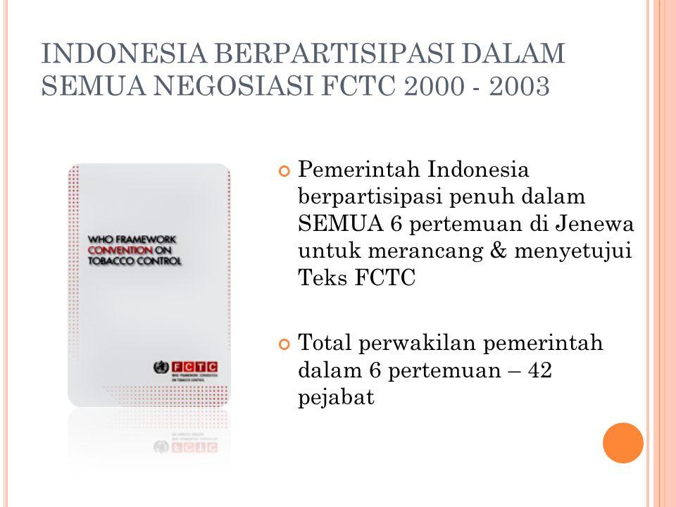 INDONESIA BERPARTISIPASI DALAM SEMUA NEGOSIASI FCTC 2000 - 2003 Pemerintah Indonesia berpartisipasi penuh dalam SEMUA 6 pertemuan di Jenewa untuk mera