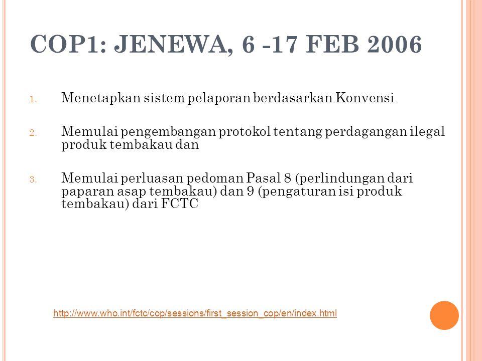 COP1: JENEWA, 6 -17 FEB 2006 1. Menetapkan sistem pelaporan berdasarkan Konvensi 2. Memulai pengembangan protokol tentang perdagangan ilegal produk te
