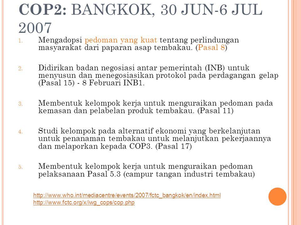COP2: BANGKOK, 30 JUN-6 JUL 2007 1. Mengadopsi pedoman yang kuat tentang perlindungan masyarakat dari paparan asap tembakau. (Pasal 8) 2. Didirikan ba