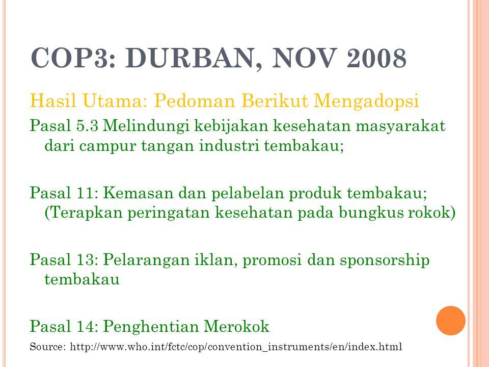 COP3: DURBAN, NOV 2008 Hasil Utama: Pedoman Berikut Mengadopsi Pasal 5.3 Melindungi kebijakan kesehatan masyarakat dari campur tangan industri tembaka