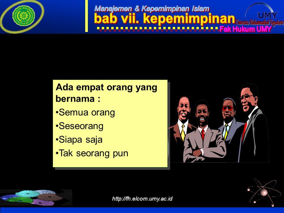http://fh.elcom.umy.ac.id ILUSTRASI SINERGI Ada empat orang yang bernama : Semua orang Seseorang Siapa saja Tak seorang pun Ada empat orang yang berna