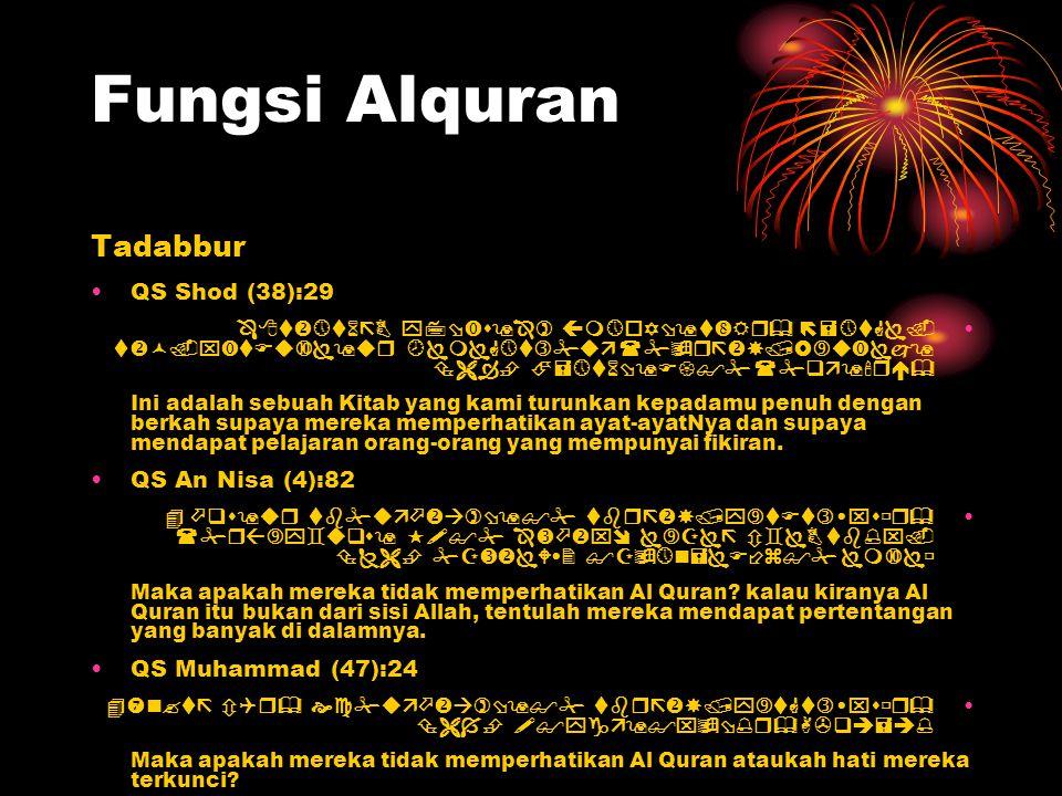 Fungsi Alquran Tadabbur QS Shod (38):29           I