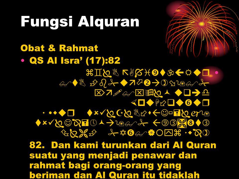 Fungsi Alquran Obat & Rahmat QS Al Isra' (17):82             